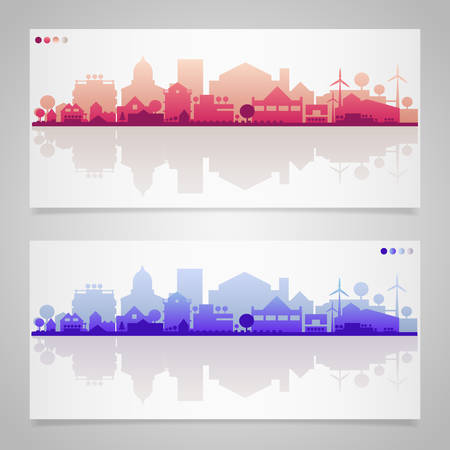 small town: Vector horizontal banners of small town or village Illustration