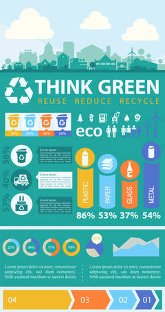 cesto basura: Residuos de segregación y reciclaje infografía con elementos Vectores