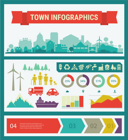 Small town and village infographics. Vector collection