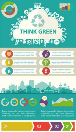 eficiencia: Utilitarios infografía ecológicos Piense verde con cartas gráfico elementos y ciudad