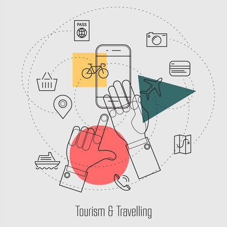bicycle icon: Tourism and Travelling Line Concept Webdesign Illustration Template Icons Collection Illustration