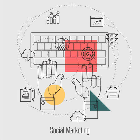 copywriting: Social Marketing, Search Engine Optimization Line Concept Webdesign Illustration Template Icons Collection Illustration