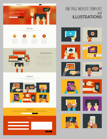 smartphone hand: Responsive landing page or one page website template with trendy illustrations collection