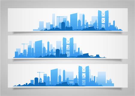 Cityscape sets met verschillende delen van de stad. Kleine steden en voorsteden en het centrum van silhouetten