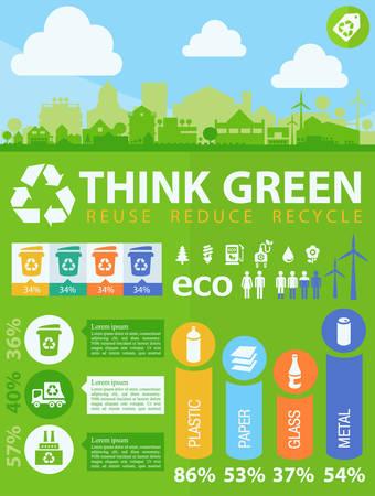 廃棄物分離・ リサイクル インフォ グラフィックの要素  イラスト・ベクター素材