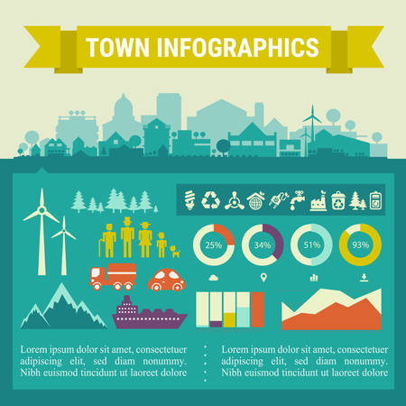 districts: Small town and village infographics. Vector collection