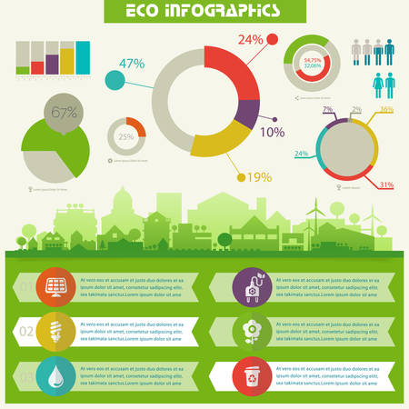 conservation: Utility ecological infographics Think Green with graph charts elements and town