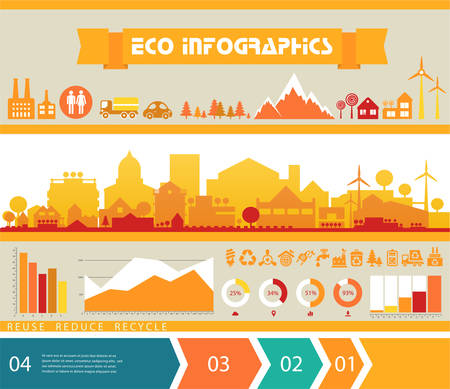 small town: Small town and village infographics with step banners Illustration