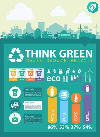 separacion de basura: Residuos de segregación y reciclaje infografía con elementos Vectores