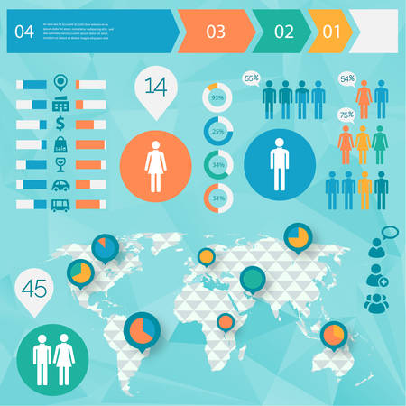 Business graph: Human Issues Infographics with polygonal world map and option steps timeline banners Illustration