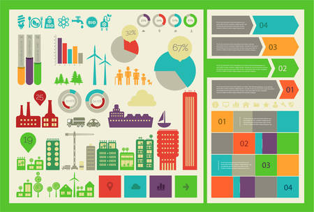 Flat ui design futuristic eco city infographics template with steps option banners collection