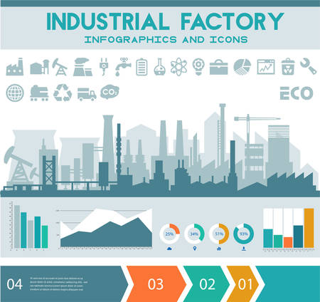 Industrial factory infographics with step banners and graph charts