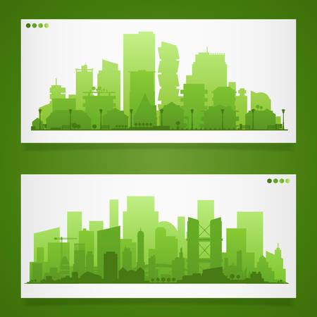 通信: 都市景観は、都市のさまざまな部分で設定します。小さい町または郊外やダウンタウンのシルエット  イラスト・ベクター素材