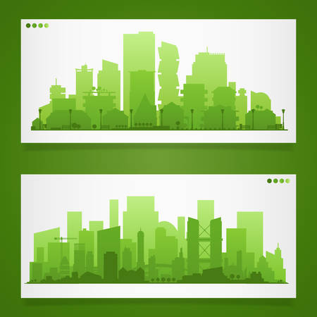 通信: Cityscape sets with various parts of a city. Small towns or suburbs and downtown silhouettes