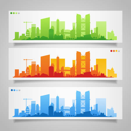 Cityscape sets with various parts of a city. Small towns or suburbs and downtown silhouettes Фото со стока - 48083243