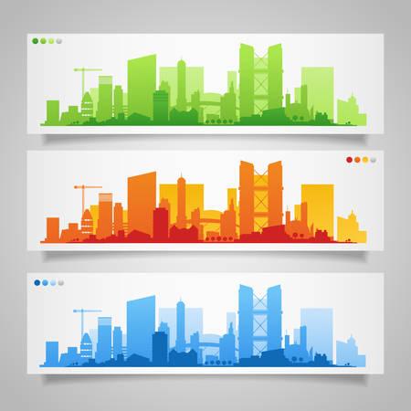 Paysage urbain établit avec diverses parties d'une ville. Les petites villes ou les banlieues et les silhouettes du centre-ville Banque d'images - 48083243