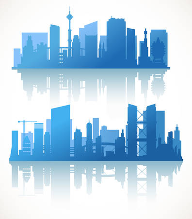 Cityscape sets with various parts of a city. Small towns or suburbs and downtown silhouettes Фото со стока - 48083245