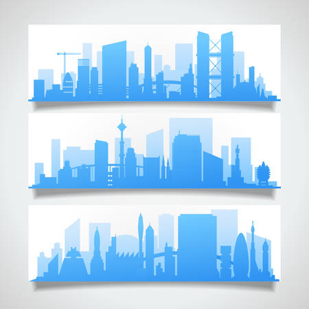 suburbs: Cityscape sets with various parts of a city. Small towns or suburbs and downtown silhouettes