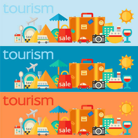 Flat design concept for traveling and tourism. Horizontal banners Illustration