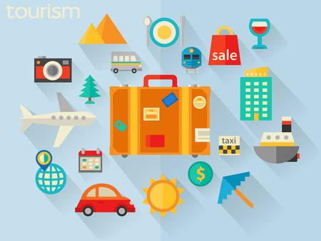 valise voyage: Flat concept de design pour Voyage et tourisme Illustration