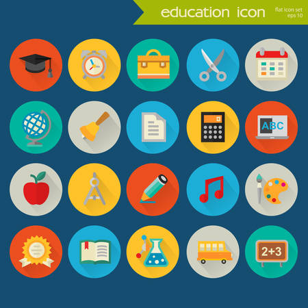 exercisebook: Trendy flat detailed social colored icons on colored circles Illustration