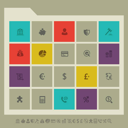bank transfer: Modern flat design multicolored banking icons collection