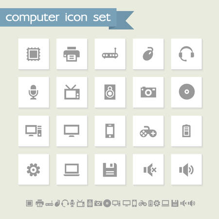 computer icons: Modern flat design simple computer icons collection