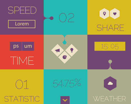 Flat design ui mobile abstract interface with modern hexagon and rhombus buttons