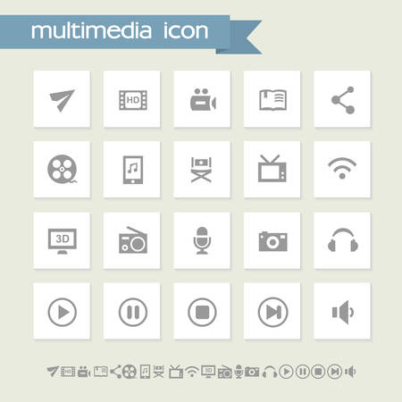 Modern flat design simple multimedia icons collection