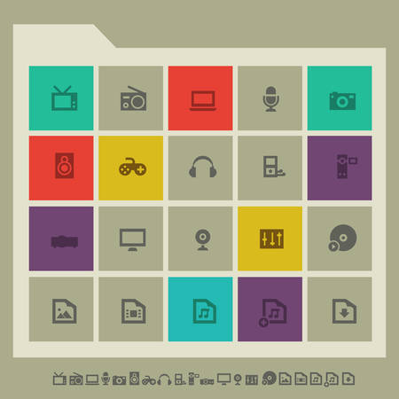 multimedia icons: Modern flat design multicolored icons collection of multimedia devices Illustration