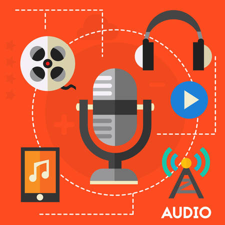 Audio production and podcast concept. Flat style vector illustration online web banner