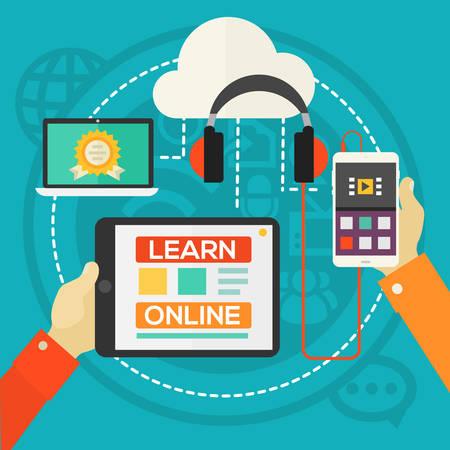 icono computadora: Concepto de educaci�n - E-learning. Estilo plano ilustraci�n vectorial banner web en l�nea