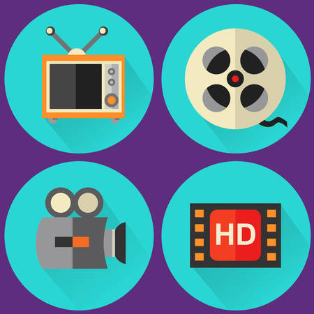high detailed: Four high detailed flat style multimedia icons