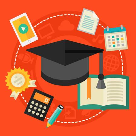Concepto de educación - Educación Secundaria. estilo plano ilustración vectorial Banner Web en línea