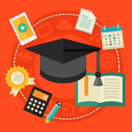 high school: Education Concept - High school education. Flat style vector illustration online web banner