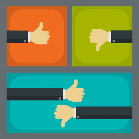 Like and dislike business concepts. Businessmen hands with thumbs up and thumbs down gestures