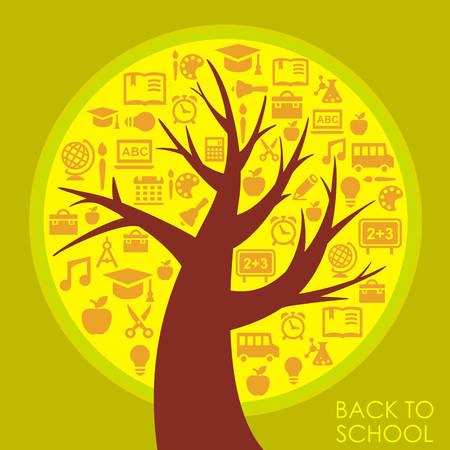 exercisebook: Back To School abstract background with education stylized tree