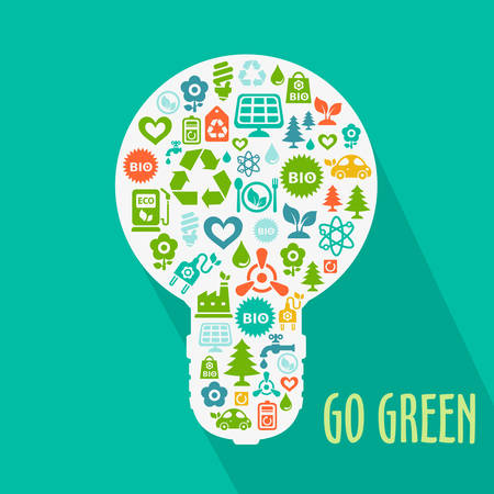 Vector Go Green ecological illustration with light bulb shape contained of ecology icons