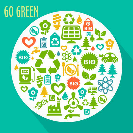 reusing: Vector Go Green ecological illustration with round shape contained of ecology icons