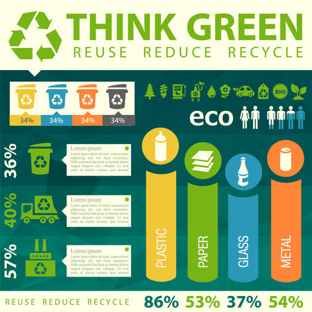 reduce: Waste segregation and recycling infographics with elements Illustration
