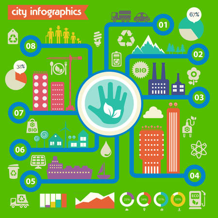 Flat design futuristic eco city infographic template