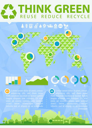 reusing: Small town or village ecological illustration Think Green with infographics world map