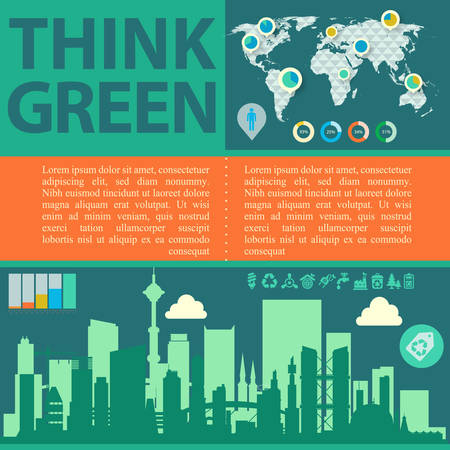 reusing: Downtown ecological illustration Think Green with infographics world map