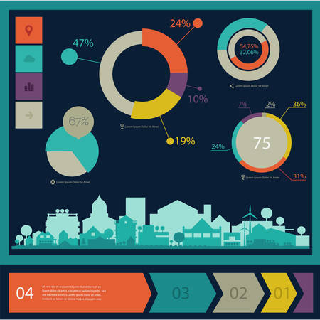 reusing: Ecological infographics Think Green with graph charts elements and town Illustration