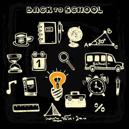 exercisebook: Doodle vector school and educational icons on blackboard, set 2