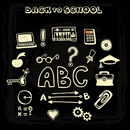 Doodle vector school and educational icons on blackboard, set 3