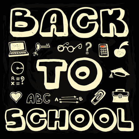 doodle text: Back to School doodle text and design elements