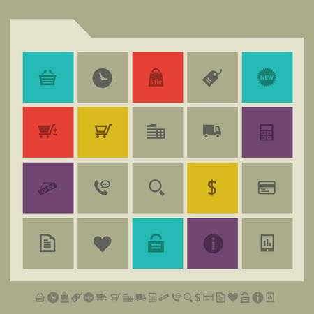 call log: Modern flat design multicolored shopping icons collection
