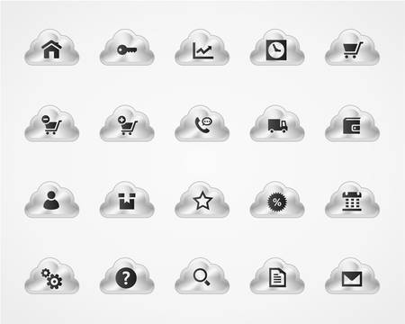 call log: Web and commercial icons on metallic cloud buttons Illustration