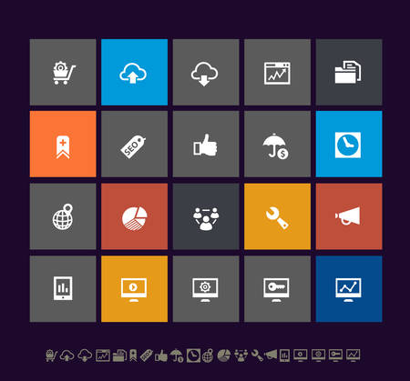 mobile marketing: Trendy metro SEO and Internet Marketing icons, set 2, for mobile user interfaces and applications Illustration